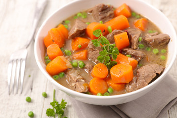 beef, carrot and pea with broth