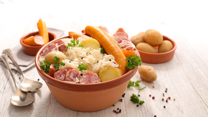 alsace traditional meal, Sauerkraut with potato and meat