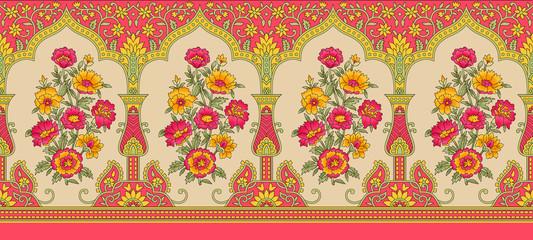 Indian mughal flower motif background border Wall mural