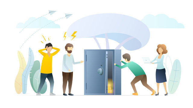 Finance market competition vector illustration. People concerned about economy crisis. Man checking bank safe box cartoon character. Investors excited about losing money, decreasing income, profit.