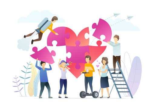 Promoting world peace, love metaphor illustration. People composing heart mosaic, adding jigsaw puzzles. Community activists holding loudspeaker. Cooperation, collaboration for common wellbeing.