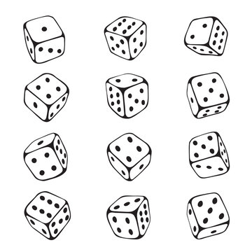 Dice sketch set, chance and gambling risk