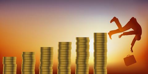 Concept de l'appât du gain et de la faillite, avec un homme d'affaires qui devient progressivement riche, avant de tout perdre et de tomber de son piédestal.