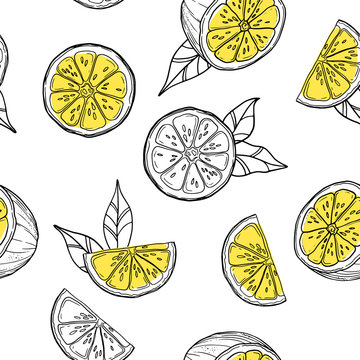 Seamless pattern with lemon. Beautiful exotic print for invitation, greeting card, wallpaper, background
