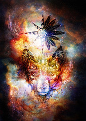 ornamental painting of wolf, sacred animal and ornamental star with feathers in cosmic space.