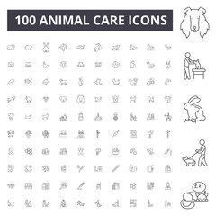 Animal care line icons, signs, vector set, outline concept illustration