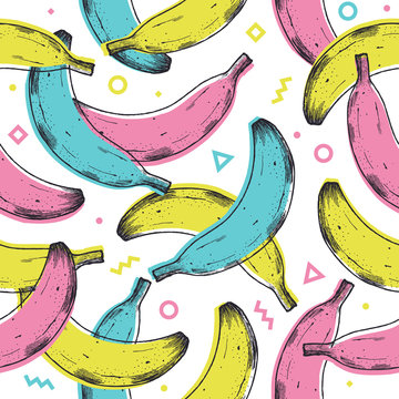 Colored fun banana seamless pattern. 90s style background. Vector illustration