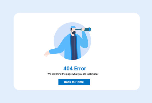 Design template for web page with 404 illustration error. Can use for web banner, infographics, hero images. Flat vector illustration isolated