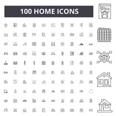 Home line icons, signs, vector set, outline concept illustration