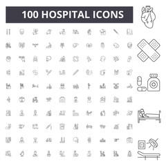 Hospital line icons, signs, vector set, outline concept illustration