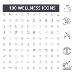 Wellness line icons, signs, vector set, outline concept illustration
