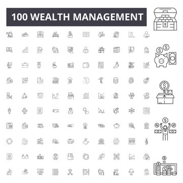 Wealth management line icons, signs, vector set, outline concept illustration