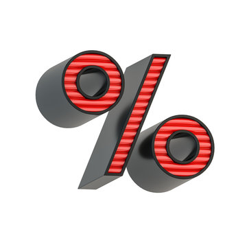 Retro style black and red percent symbol. Character isolated over white background.