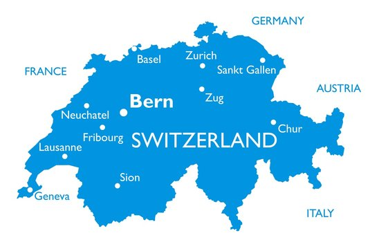 Vector map of Switzerland | Outline detailed map with city names