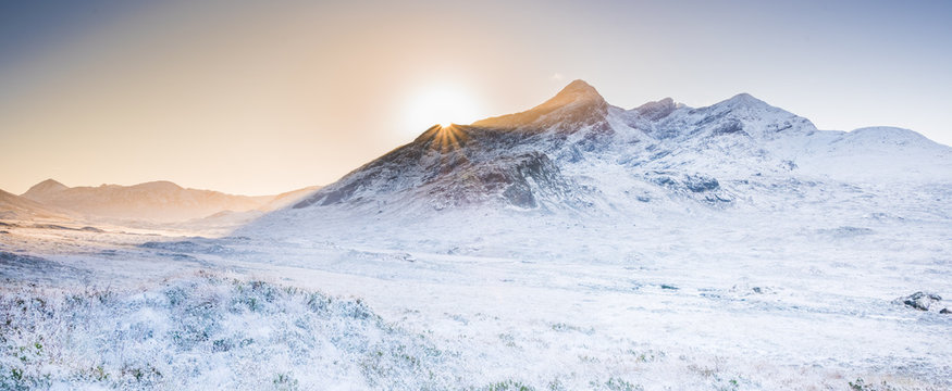 Isle of Skye landscape - winter scenery on Cuillin Hills, snow covered mountains in Scotland