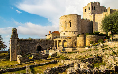 Fotorolgordijn Oost Europa Castle Kruje, Kruje Albania, Skanderbeg Museum, Albania, Europe
