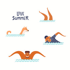 Hand drawn vector illustration of happy people, dog swimming in the sea, with lettering quote Love summer. Isolated objects on white background. Flat style design. Concept, element for poster, banner.