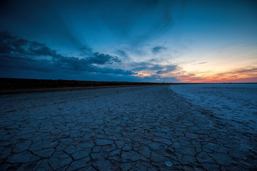 Sunset on the lake Elton