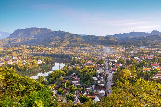 Top view of Luang Prabang city at sunset, Laos
