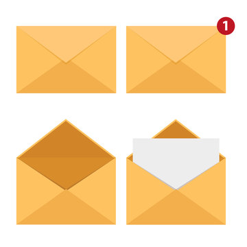 Set of Mail Envelopes. Delivery of correspondence or office documents.