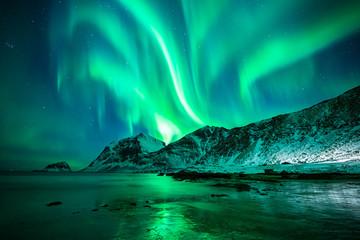 Foto auf Acrylglas Nordlicht Aurora Borealis Lofoten