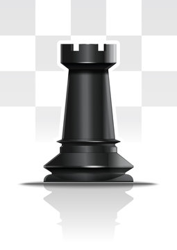 Black chess figure rook. Realistic vector icon