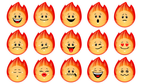Vector set of flame emoticons. Collection of hot fire shapes with different facial emotions in cartoon style