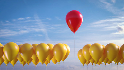 3D Illustration roter Luftballon hebt ab