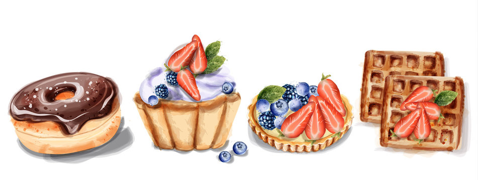 donuts cupcake and waffles Invitation card Vector watercolor. Chocolate strawberry sweet decors