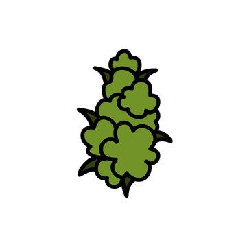 marihuana bud doodle icon, vector illustration