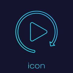 Turquoise Video play button like simple replay line icon isolated on blue background. Vector Illustration