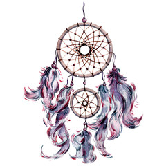 Isolated watercolor bohemian dreamcatcher, boho feathers decoration.