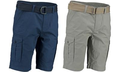 Men's Bermudas Khaki and blue. Isolated image on white background. Men's clothing. Set.