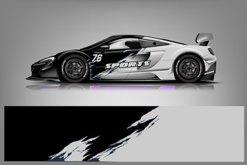 Fototapete - Sport Car wrap design vector, truck and cargo van decal. Graphic abstract stripe racing background designs for vehicle, rally, race, adventure and car racing livery. - Vector