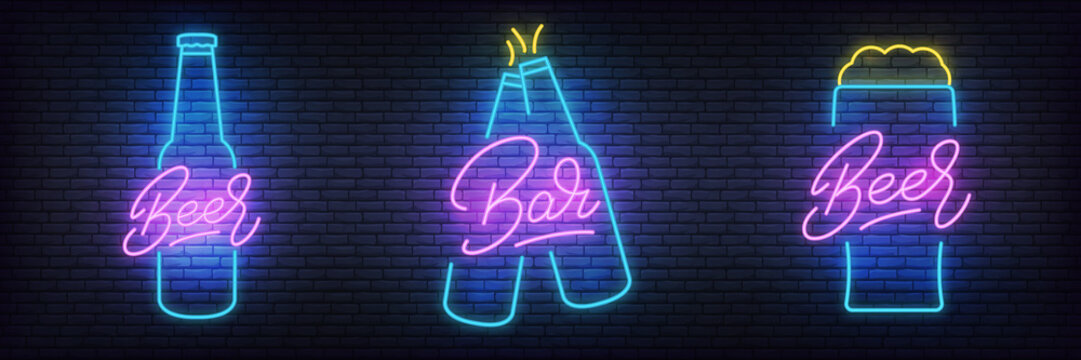 Beer neon set. Glowing lettering beer signs for bar, pub, restaurant, club.