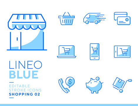 Lineo Blue - Shopping and E-commerce line icons