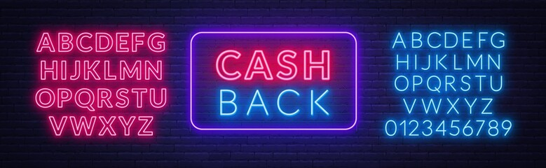 Cash back neon sign on brick wall background. Template for design. Neon alphabet . Vector illustration. Wall mural