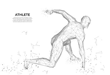 Human body low poly wireframe. Athlete, Running man from triangles, low poly style. sport concept. human anatomy. Vector polygonal futuristic image. Polygonal wireframe mesh art