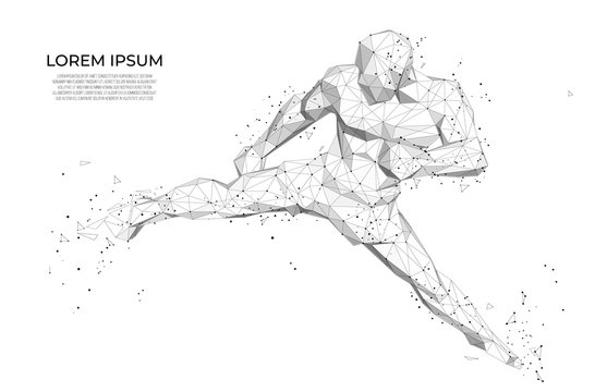 Abstract athlete Abstract athlete boxer. Human body low poly wireframe.  Abstract Sport, Fitness poster with man kickboxer from triangles, low poly style. Vector polygonal futuristic image.