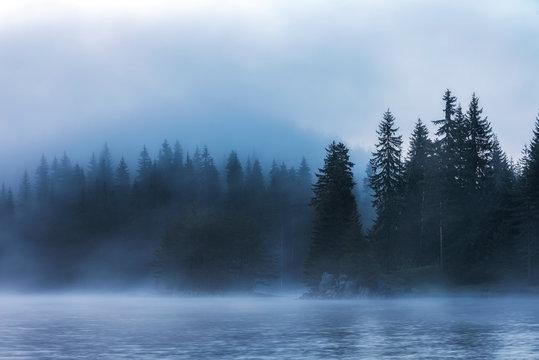 Stunning image of the foggy lake Shiroka poliana in Rhodope mountain, Bulgaria, Europe. Dramatic morning sunrise scene.