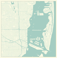Miami, Florida, US City Map in Retro Style. Outline Map..