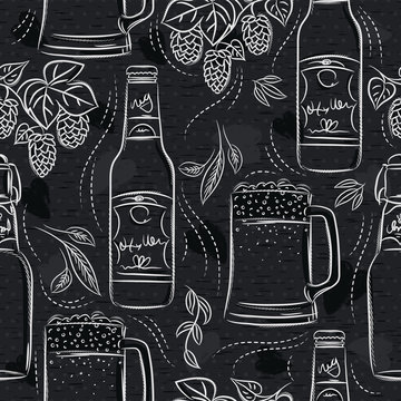 Seamless patterns with set of beer bottle, mug and hop on black chalkboard. Ideal for printing onto fabric and paper or scrap booking.