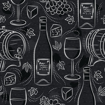 Seamless patterns with white wine set, cask, wineglass, barrel, grape and cheese on black chalkboard. Ideal for printing onto fabric and paper or scrap booking.