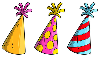 Cartoon colorful holiday cone hats or caps. Isolated on white background. Vector icon set.