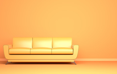 Yellow sofa on the yellow background