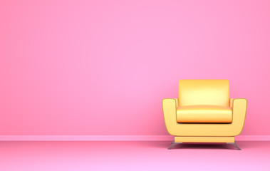 Yellow chair on the pink background