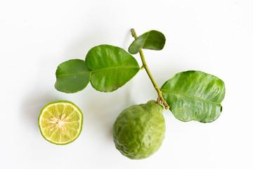 green bergamot on white background, heab for protect hair loss problem