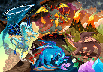 Foto op Aluminium Kinderkamer Cycle of air, earth, fire, and water with each dragon