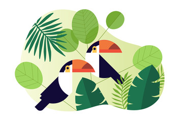 Nature vector illustration. Flat design concept for web and social media banner, background, travel and holiday ads, presentation template, advertising material.