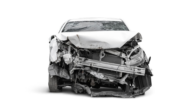 front side of crashed car from accident